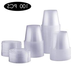 100pcs/lot Disposable Dispensing Plastic Cup With Lid Party