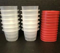 """12 Rubbermaid 1/2 cup 4oz Square Storage Containers w Red """"E"""