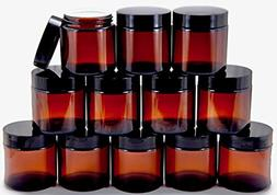 12 Amber 4 oz Round Glass Jars with Inner Liners and black L