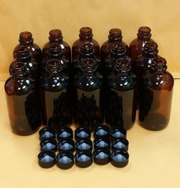 14 pc AMBER 4 oz 120 ml Clear Boston Round Glass Bottle With