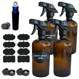16 OZ Amber Glass Spray Bottles w/Labels  w/Mist and Stream