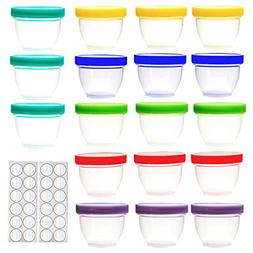 18 Pack Baby Food Storage Containers Assorted Colors With Li
