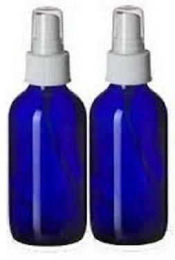2 NEW 4 oz. Cobalt Blue Boston Round GLASS Spray Bottle WHIT
