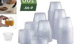 Plastic Disposable Portion Cups with Lids, Souffle Cups, Je