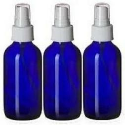 3- NEW 4 oz. Cobalt Blue Boston Round GLASS Spray Bottle WHI