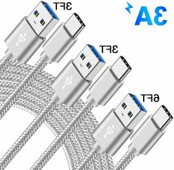 3 PACK Type C Fast Charging Cable USB-C Rapid Cord Quick Cha