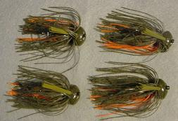 4 Jewel Bait Co J-Lock 3/4 oz Football JIG 4/0 Gamakatsu Gre