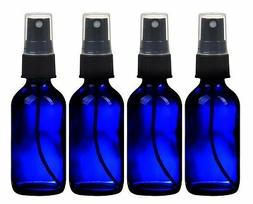 4 NEW 2 oz. Cobalt Blue Boston Round GLASS Spray Bottle with