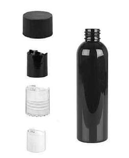 4 oz BLACK Bullet Plastic Bottle -PET- 12 bottles & BLACK DI