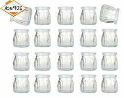 Encheng 4 Oz Clear Glass Jars With Lids,Glass Yogurt Contain