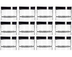 4 oz Clear Straight sided Plastic Jar with Black smooth Lid