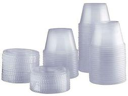 4 oz. Plastic Disposable Portion Cups With Lids - Souffle Cu