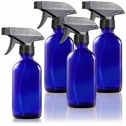 Juvale 4-Pack Blue Glass 8 oz Atomizer Trigger Spray Misting