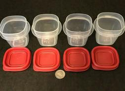 4 Sets Rubbermaid 1/2 cup 4oz Square Storage Containers w Re