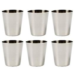 6 Pack Stainless Steel Shot Glass Glasses 1 fl oz 30ml Set o