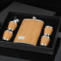 9 <font><b>oz</b></font> Wooden Hip Flask Set With <font><b>