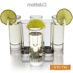 Cutehom Tall Tequila Shot Glasses - Set of 6 Crystal clear G