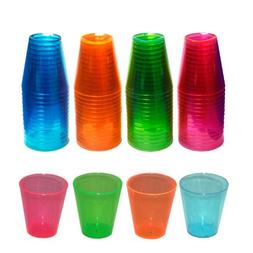 Party Essentials Brights Plastic Shot Glass, 2-Ounce Capacit