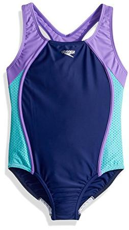 Speedo Girls Mesh Thick Strap One Piece, Blue Harmony, Size