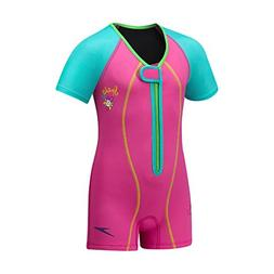 Speedo Kids UPF 50+ Begin to Swim Thermal Swimsuit, Berry, 9