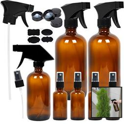 7 Amber Glass Spray Bottles, 2 Pack 16 oz Empty Amber Spray