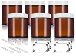 Amber Thick Glass Straight Sided Jar with White Smooth Lids