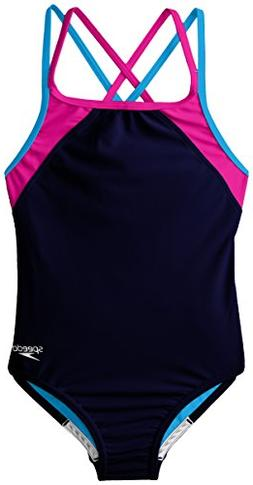 Speedo Big Girls Cross Back Splice 1 Piece, Navy, 8