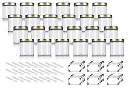 Clear Thick Glass Straight Sided Jar with Gold Metal Airtigh