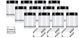 Clear Thick Glass Straight Sided Jars - 4 oz / 120 ml  + Lab