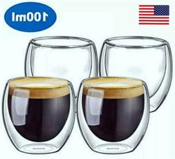 Double wall insulated glass cups, Set Of 2/4/6 Espresso size