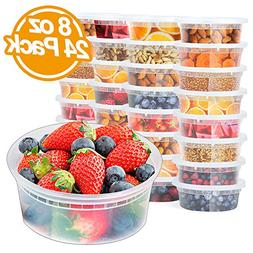 Glotoch 8oz Deli Plastic Food Containers with Lids, Leakproo