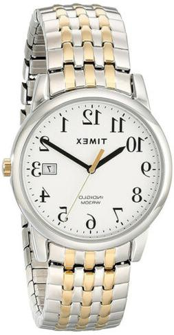 Timex Mens Easy Reader Two-Tone Band Silver-Tone Case Dress