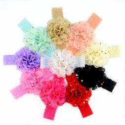 10 Pcs 10 Color Handmade Chiffon Flower with Gold Spot Baby