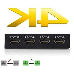 4K HDMI Splitter – 1 Input Device to 4 Displays by Ditchin