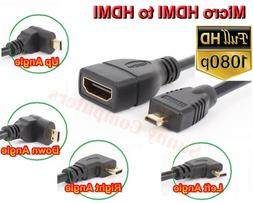 HDMI V1.4 Female to Left Right Up Down Plug Micro HDMI Male