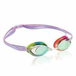 Speedo Jr Vanquisher 2.0 Mirrored Swim Goggles, Rainbow Tye-