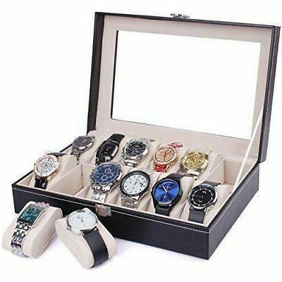 12 Grids Slots Leather Jewelry Watch Portable Display Case B