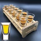 12 Shot Glass Wine Cup Set + Wood Holder Rack For Tequila Wh