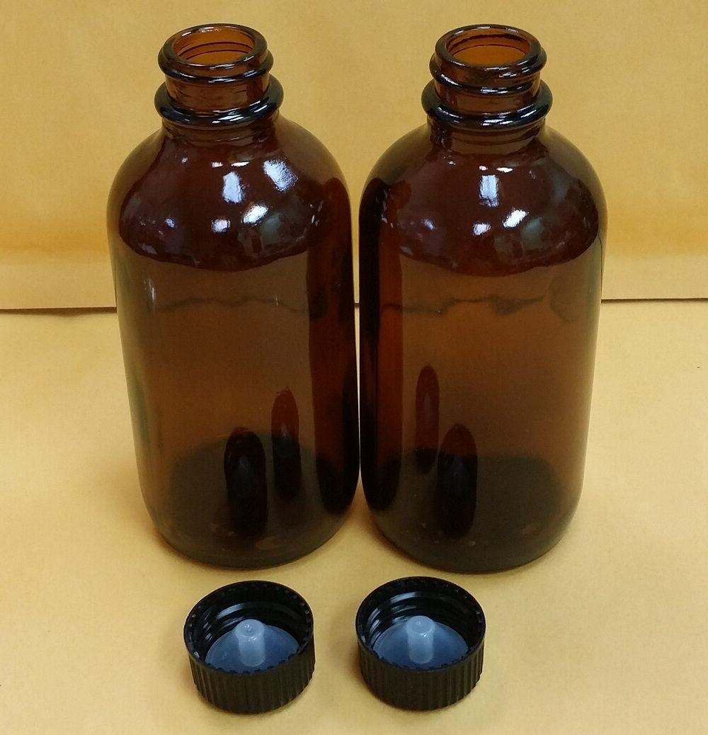 2 pc AMBER 4 oz 120 ml Clear Boston Round Glass Bottles With