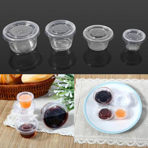 1/2/3/4oz 50Pcs Disposable Plastic Clear Sauce Chutney Cups