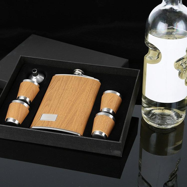 9 Wooden Flask Set With <font><b>1</b></font> Funnel and <font><b>4</b></font> Whiskey Wine Flagon Bottle Drinkware For Gifts