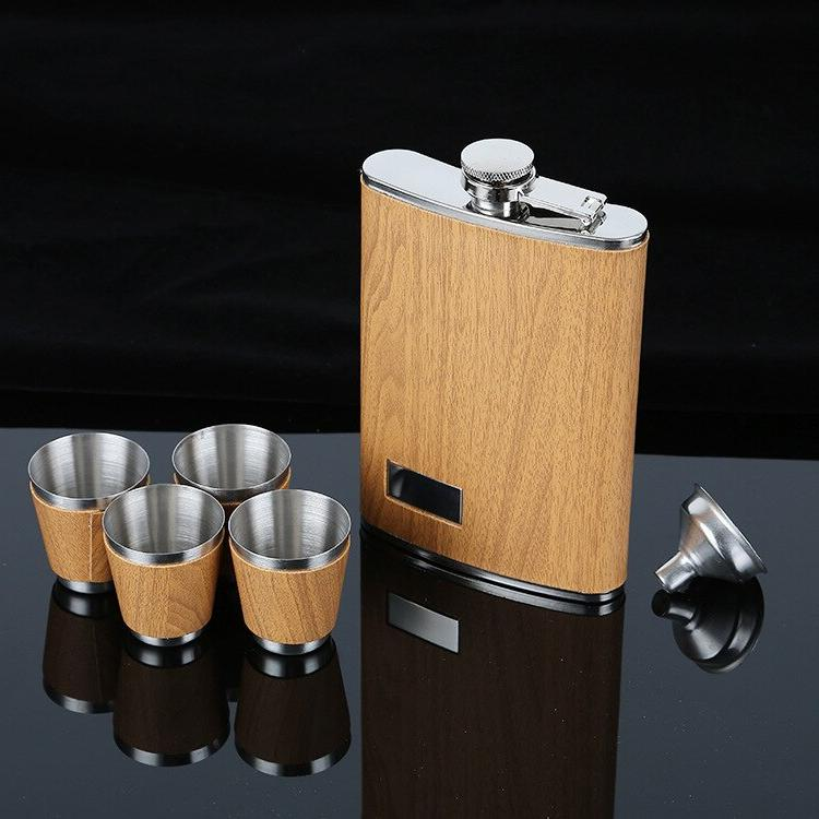 9 <font><b>oz</b></font> Flask Set With Funnel Whiskey Wine Flagon Bottle Travel For Gifts
