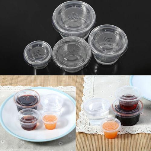 4OZ 50pcs Disposable Clear Plastic Sauce Chutney Cups Food C