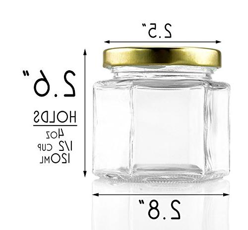 4-Ounce Jars , One Oz Hex Jar for Favors, Spices
