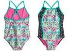 Speedo Kids Girl's Diamond Geo Splice One-Piece Swimsuit , M
