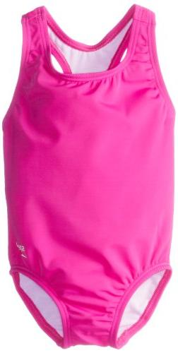 Speedo Little Girls'  Learn-To-Swim Solid Racerback, New Blu