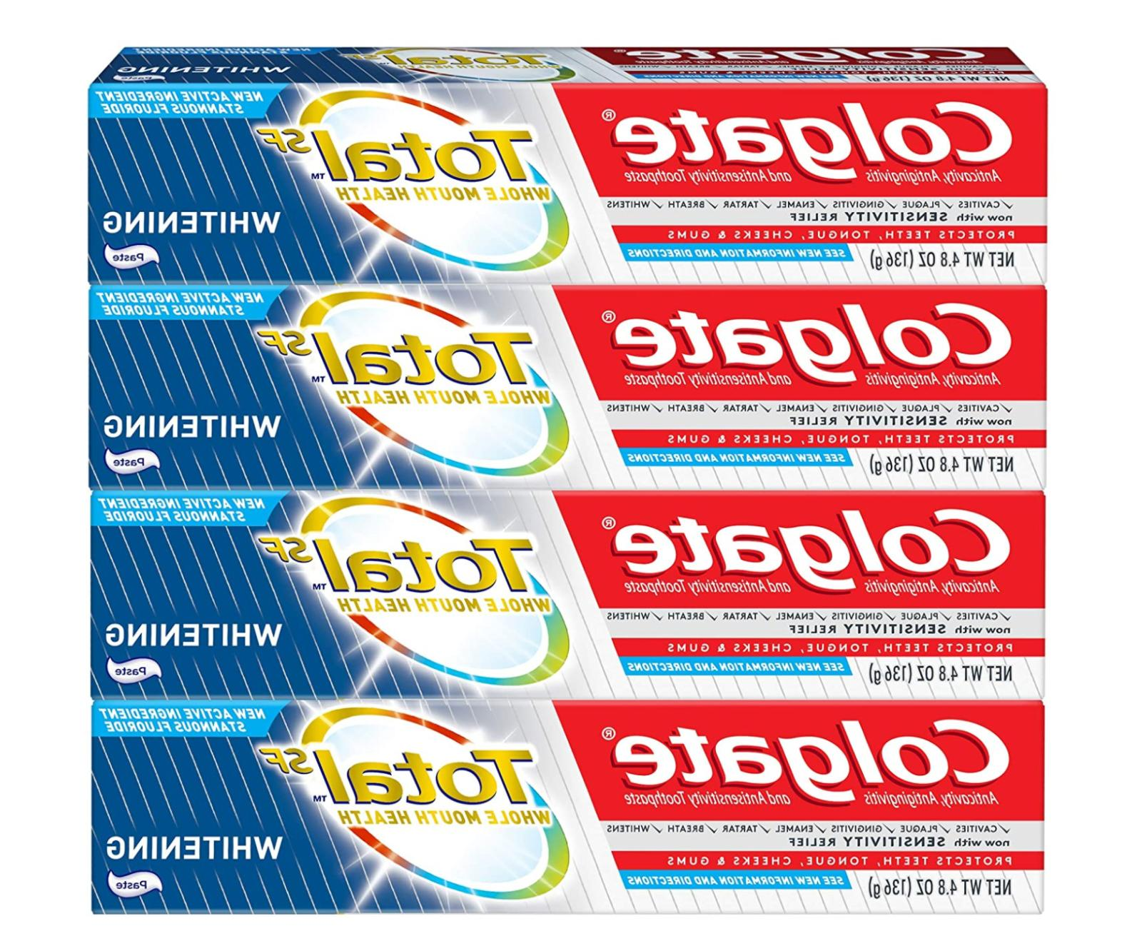 pack of 4 teeth whitening total toothpaste