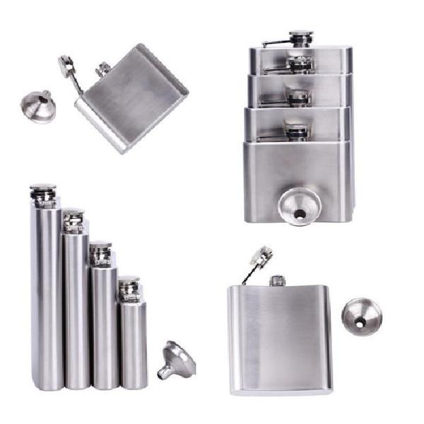 Portable <font><b>oz</b></font> Steel Wine Liquor Whiskey Alcohol Cap + Funnel Flask Outdoor