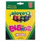 So Big Crayons, Large Size, 5 x 9/16, 8 Assorted Color Box