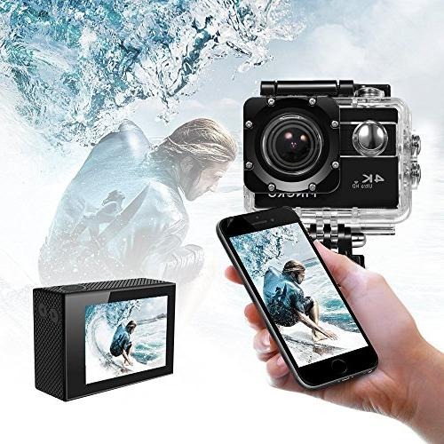 PINGKO HD 4K Waterproof Sport Action Sensor WiFi 1080P 120fps HDMI 20MP+Dual Batteries with Inch Screen 170 Angle Video Camcorder - Black